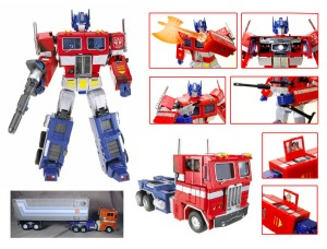 The Hasbro version of Masterpiece Optimus Prime (or Convoy, as he was known in Japan), The Hasbro version contained additional 'battle dmage' paint applications. Image from TFWiki.net